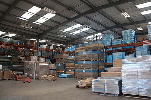 warehouse of pallets and materials